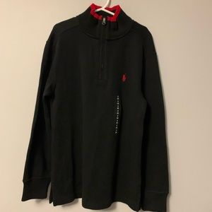 NWT Polo Ralph Lauren Black Red Tip 1/4 ZIP SM 8